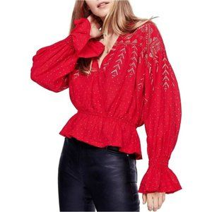 Free People Red Gold Counting Stars Peasant Top S
